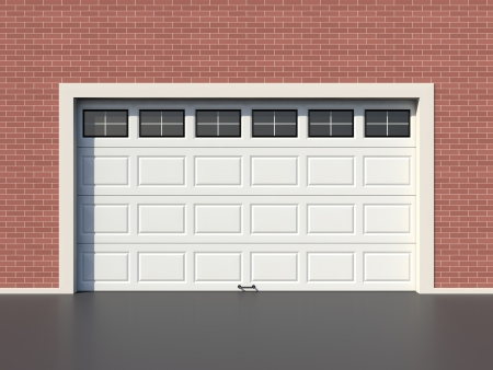 garage door: Modern white garage door with windows