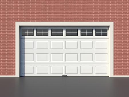 Modernes weißes Garagentor mit Fenstern