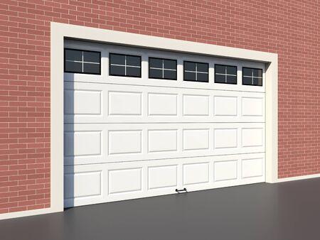 garage door: Modern white garage door with windows