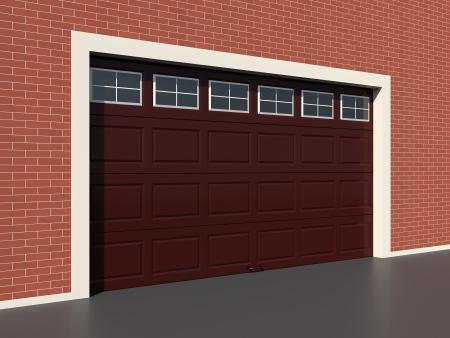 sectional door: Modern brown garage door with windows Stock Photo
