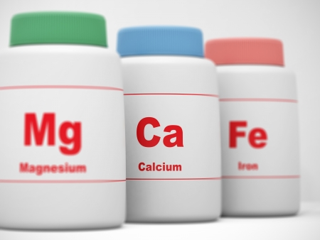 Supplements bottles Calcium, Magnesium, Iron  Focus on Calcium