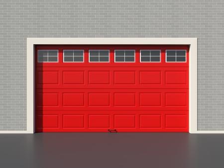 Red modern garage door with five white windows Stock Photo - 18097357