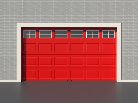 Red modern garage door with five white windows