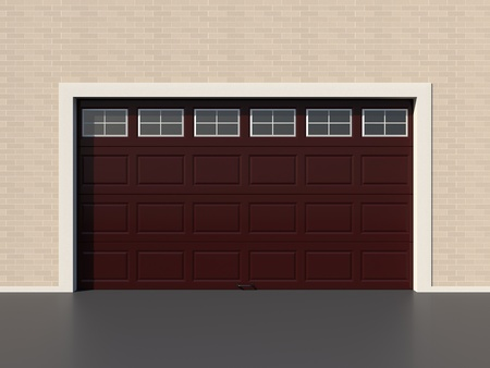 garage door: Modern brown garage door with windows Stock Photo