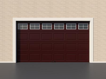 modern brown garage door with windows photo