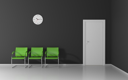Three green chairs and wall clock in the dark waiting room