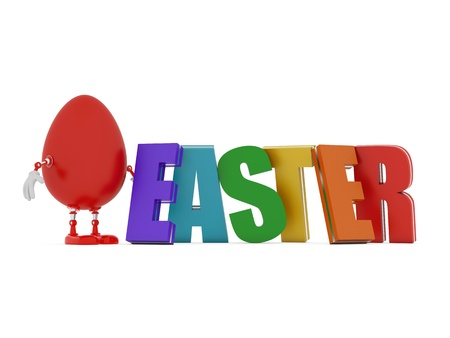 Red easter egg robot and colorful 3d word - Easter photo