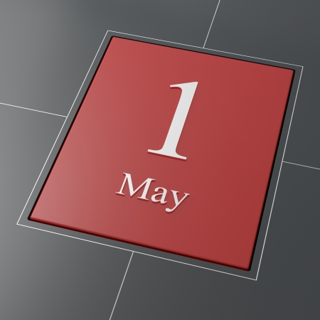 calendar day: 1 MAY DAY red button for worker s day Stock Photo