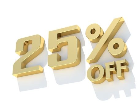 25 Percent off - gold yellow metal symbol photo