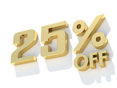25: 25 Percent off - gold yellow metal symbol Stock Photo