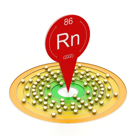 radon: Radon element from periodic table - electron configuration Stock Photo