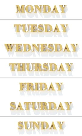 weekdays: Weekdays from yellow gold metal letters
