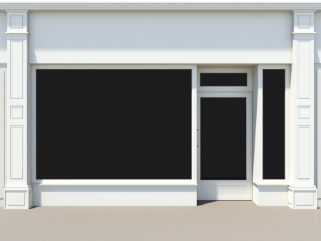 Shopfront with large windows  White store facade  photo