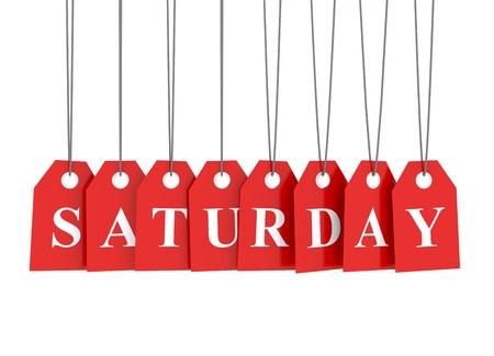 saturday: Saturday discount red etiquettes Stock Photo