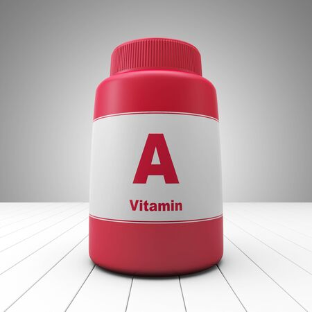 pillbox: Vitamin A red bottle