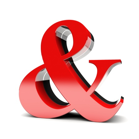 Ampersand 3D red glossy symbol photo