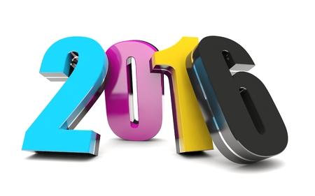 CMYK 2016 Happy New Year calendar background Stock Photo