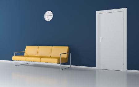 perspective room: Yellow couch in the waiting room Stock Photo