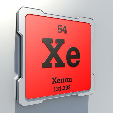 xenon: Xenon - elemento de la tabla peri�dica en el bot�n rojo Foto de archivo