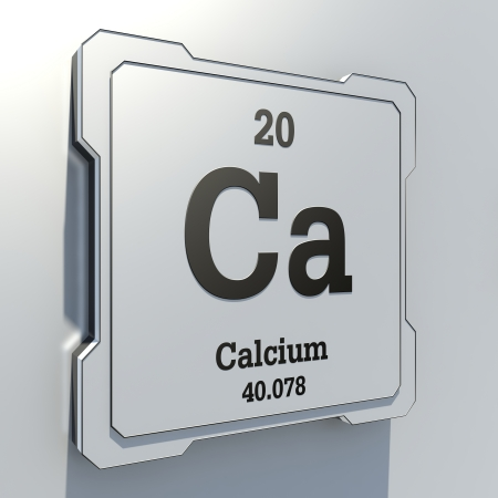 Calcium - element from periodic table on white button photo