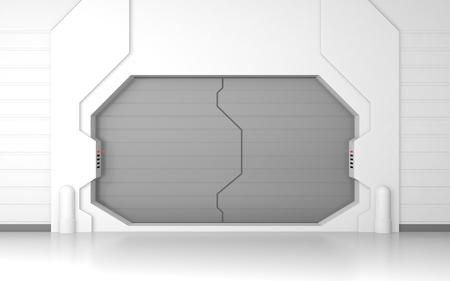 puertas de hierro: Puerta met�lica futurista o la puerta Foto de archivo