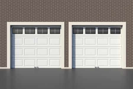 garage door: Two white garage door with windows