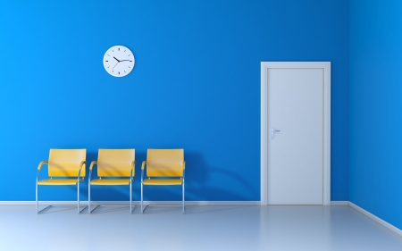 Three yellow chairs and wall clock in the waiting room
