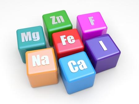Einige Symbole Mineral auf farbige Würfel Lizenzfreie Bilder