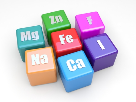 iodine: Some symbols mineral on colored cubes Stock Photo