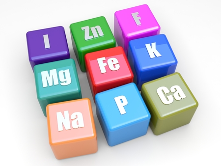 Magnesium: Some symbols mineral on colored cubes Stock Photo