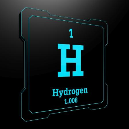 hidrógeno: Hidrógeno - elemento de la tabla periódica en el botón negro Foto de archivo
