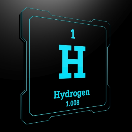 hydrogen: Hydrogen - element from periodic table on black button