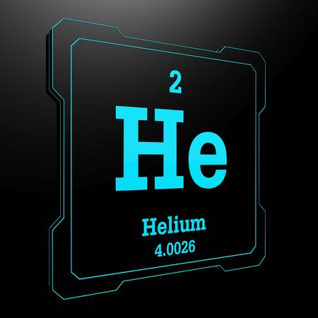 Helium - element from periodic table on black button photo