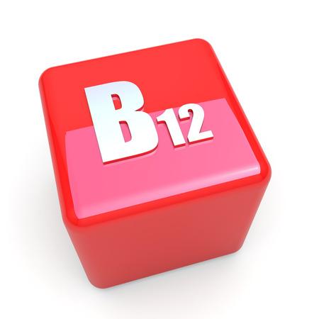 B12 vitamin symbol on glossy red cube