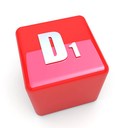 d1: D1 vitamin symbol on glossy red cube