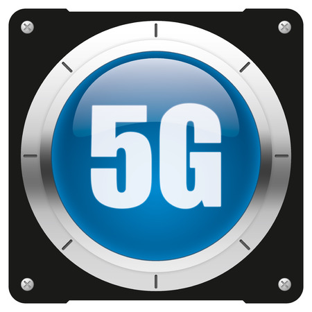 5G - modern glossy blue icon or button photo