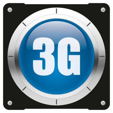 3G - modern glossy blue icon or button photo