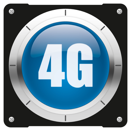 4g: 4G - modern glossy blue icon or button Stock Photo