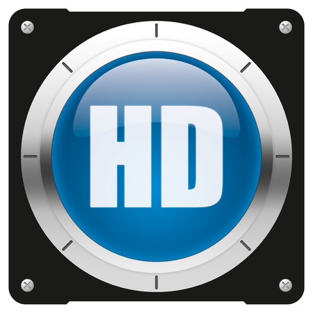 high definition: HD - high definition display - modern glossy blue icon or button