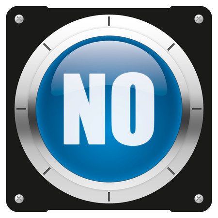 NO - modern glossy blue icon or button photo