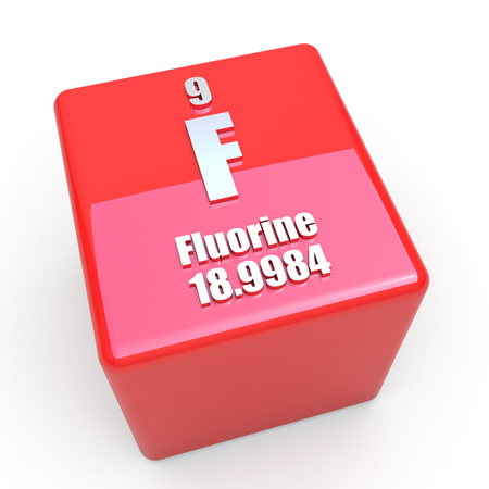 Fluorine symbol on glossy red cube photo
