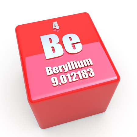 periodic table: Beryllium symbol on glossy red cube Stock Photo
