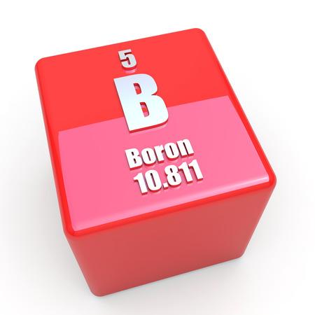 boron: Boron symbol on glossy red cube Stock Photo