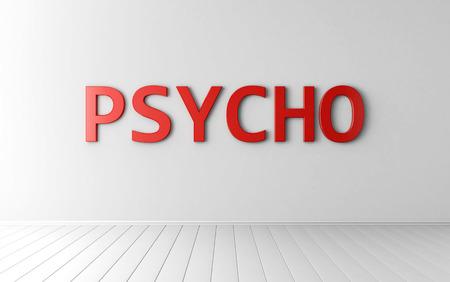 terapia psicologica: Palabra PSYCHO en la pared blanca