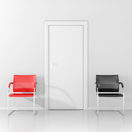 chose: Chose you place on the red chair or on the black chair in the waiting room
