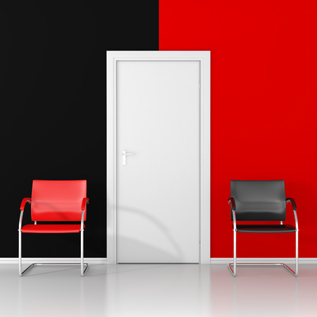 two chairs: Two chairs, red chair and black chair in the waiting room