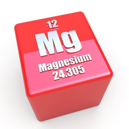 magnesium: Magnesium symbol on glossy red cube