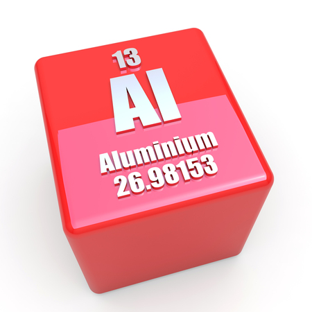 Aluminium symbol on glossy red cube photo