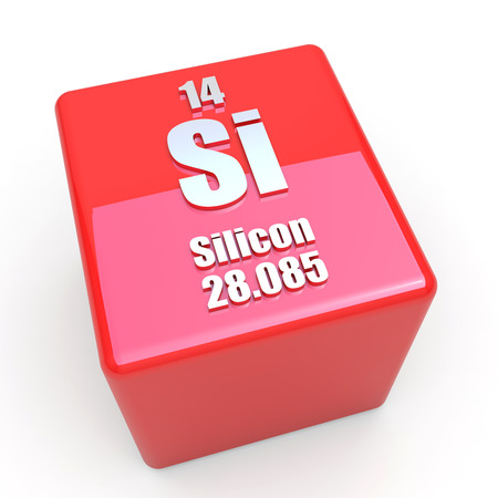 silicium: Silicon symbool op glanzende rode kubus
