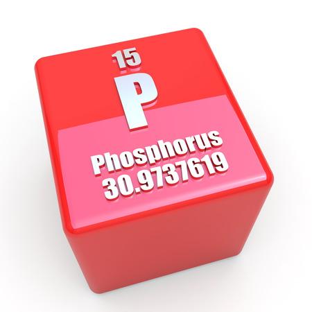 phosphorus: Phosphorus symbol on glossy red cube